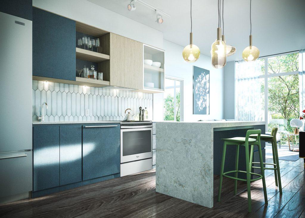 Districkt Trailside Condos Kitchen Render