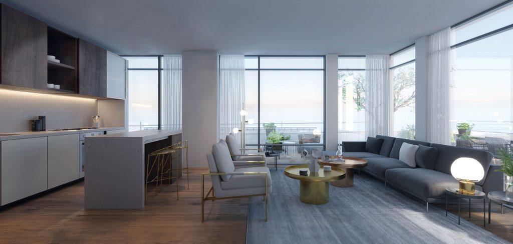 Districkt Trailside Condos Living Room Render