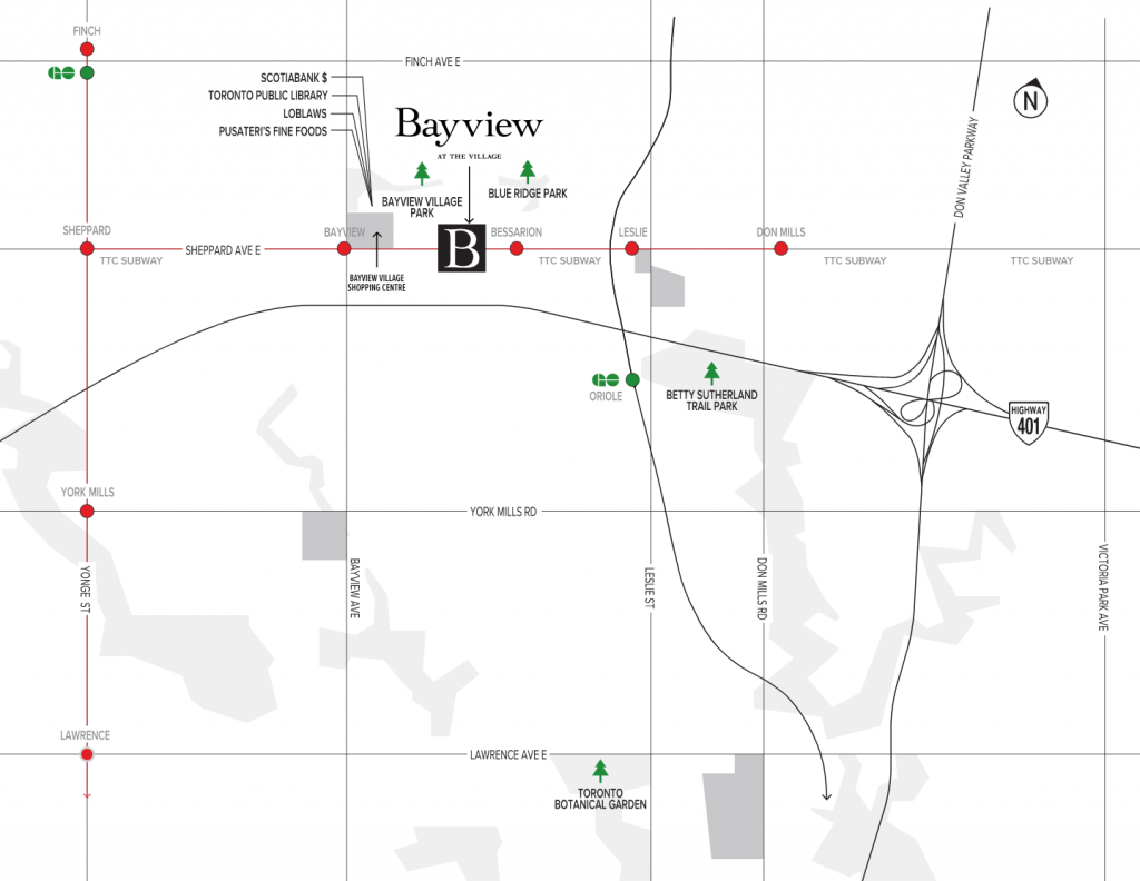 bayview at the village map